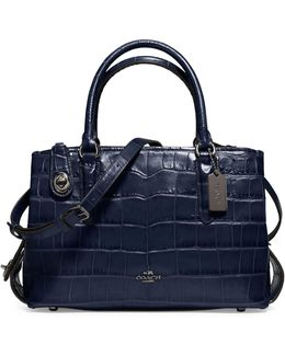 Brooklyn Crocodile Embossed Leather Carryall Bag