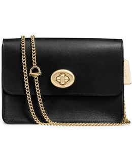 Turnlock Leather Crossbody Bag