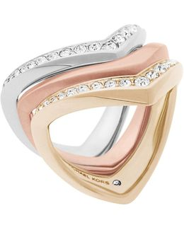 Knife Edge Three-piece Stacked Ring Set