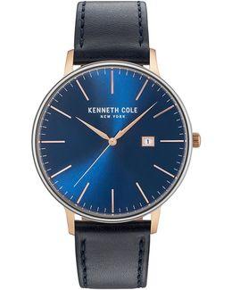 Analog Kc15059004 Goldtone Leather Strap Watch