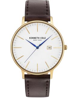 Analog Kc15059005 Goldtone Leather Strap Watch
