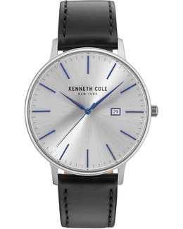 Analog Kc15059006 Stainless Steel Leather Strap Watch