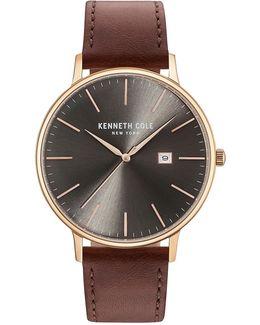 Analog Kc15059008 Goldtone Leather Strap Watch