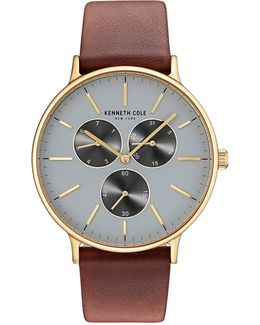 Kc14946003 Goldtone Leather Strap Watch