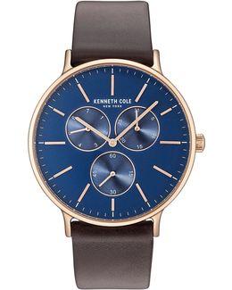 Kc14946005 Goldtone Leather Strap Watch