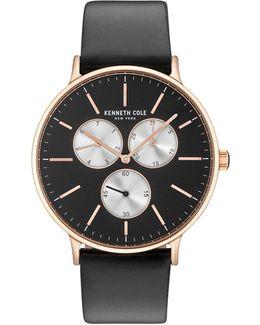 Kc14946006 Goldtone Leather Strap Watch