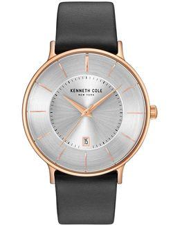 Kc15097002 Goldtone Leather Strap Watch