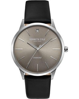 Kc15111001 Stainless Steel Leather Strap Watch