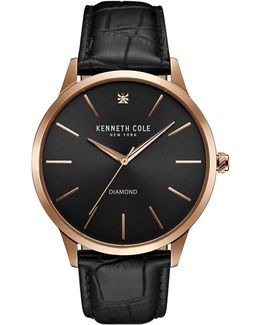 Kc15111002 Rose-goldtone Stainless Steel Textured Leather Strap Watch