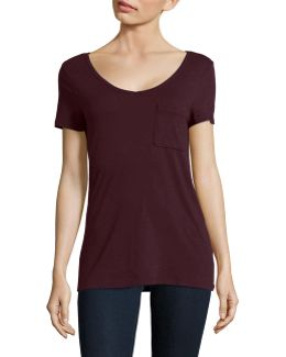 Petite V-neck One-pocket Slub T-shirt