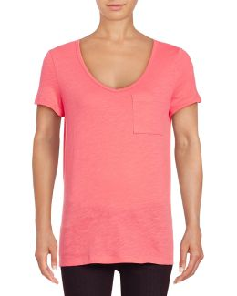 Petite Solid Scoop Neck Cotton Slub Tee