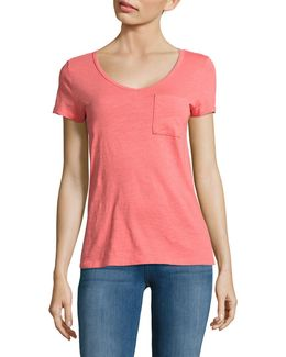 V-neck One-pocket Slub T-shirt