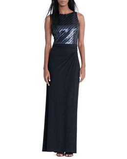 Sequined-bodice Jersey Gown