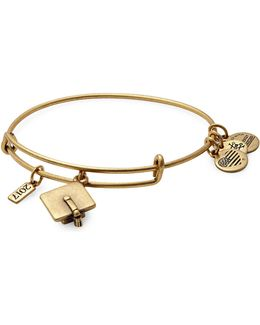 Rafaelian Gold Flash Graduation Cap Charm Bangle Bracelet