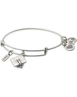 Rafaelian Silverplated Graduation Cap Charm Bangle Bracelet
