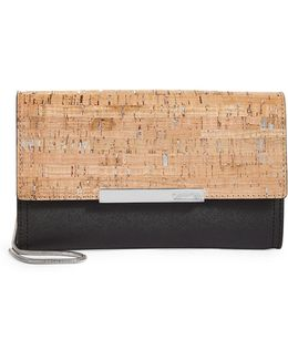 Cork And Saffiano Leather Clutch