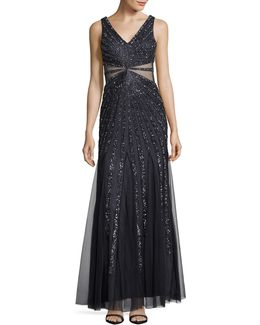 Sequined Ray Illusion Gown