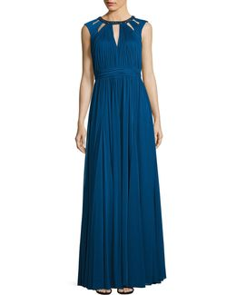 Shirred Necklace Fit-and-flare Gown