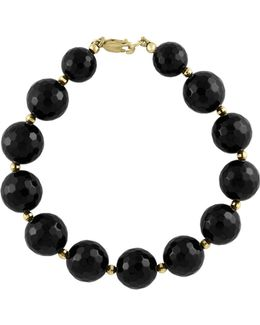 Onyx And 14k Yellow Gold Tennis Bracelet