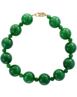 Green Jade And 14k Yellow Gold Bracelet