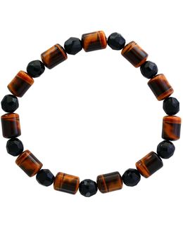 Men's Tiger Eye And Onyx Tennis Bracelet
