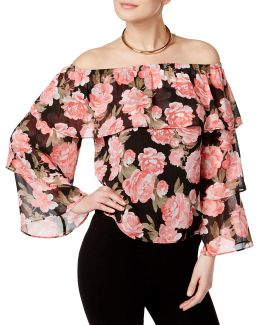 Floral-printed Off-the-shoulder Top