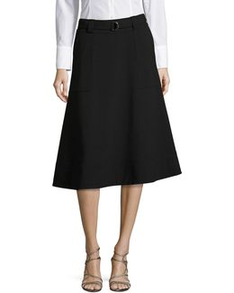 Lux A-line Skirt With Tie Belt
