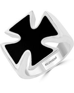 Onyx Sterling Silver Celtic Cross Ring