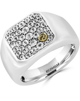 White Sapphire, 18k Yellow Gold And Sterling Silver Insert Ring