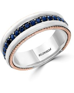 Sapphire, 18k Yellow Gold And Sterling Silver Ring