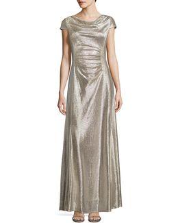 Cowl Neck Foil Sheath Gown