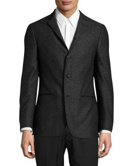 Luxe Slim-fit Speckled Silk-wool Sports Jacket