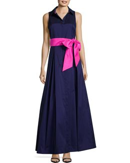 Collared Sleeveless Taffeta Ball Gown
