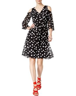 Polka Dotted Cold-shoulder A-line Dress