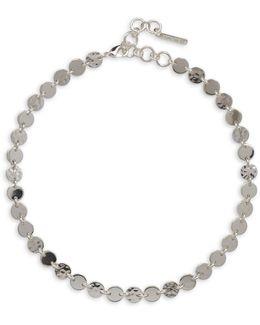 Metal Radiance Silvertone Hammered Disc Necklace