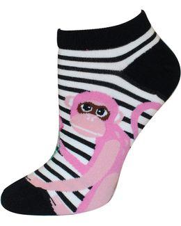 Striped Monkey No-show Socks
