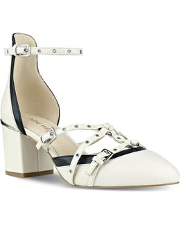 Eyelet Trimmed Leather Strappy Sandals
