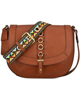 Benetta Embroidered Strap Saddle Bag