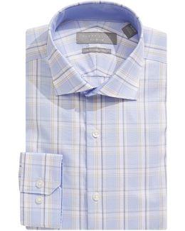 Slim Fit Dobby Plaid Dress Shirt