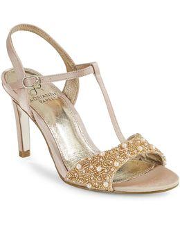 Alia Beaded T-strap Sandals