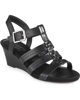 Derica Stacked Wedge Sandals
