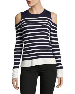 Cold-shoulder Breton Stripe Sweater