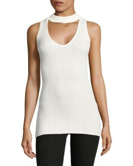 Sleeveless Ribbed Choker Neck Sweater