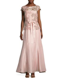 Lace Bodice Shantung Trumpet Gown