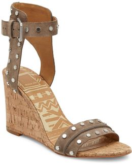 Dante Studded Leather Cork Wedge Sandals