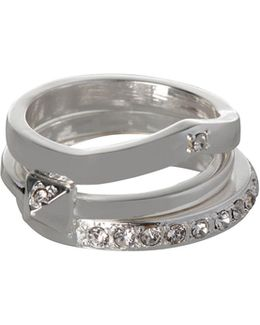 Embellished Silverplated Three-layered Ring