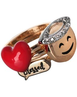 Three-piece Emoji, Heart And Dialog Bubble Ring Set