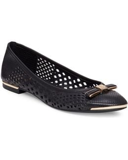 Celindan Cutout Leather Ballet Flats