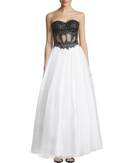 Strapless Soutache Lace And Tulle Gown