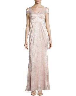 Cold-shoulder Metallic Gown